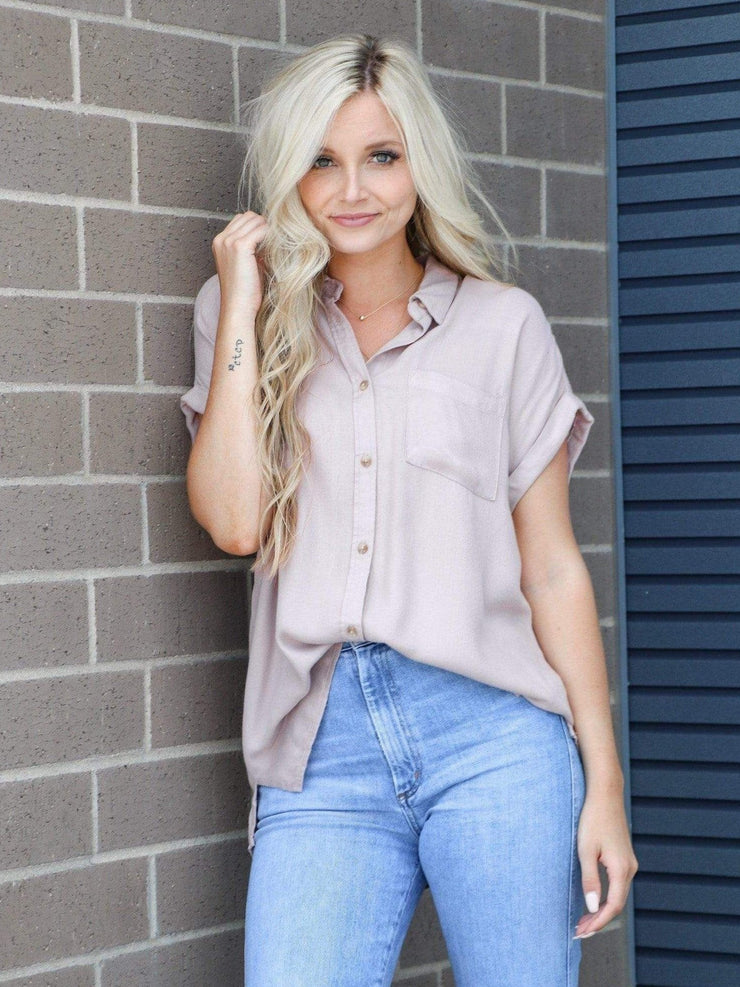 mauve button front short sleeve shirt
