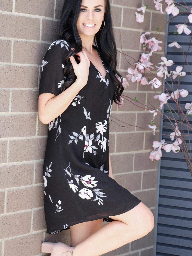 Gentle Fawn black floral dress
