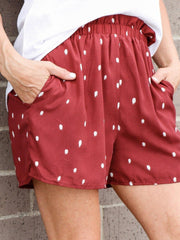 Burgundy polka dot soft short