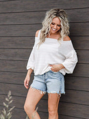 white free people off shoulder sweater