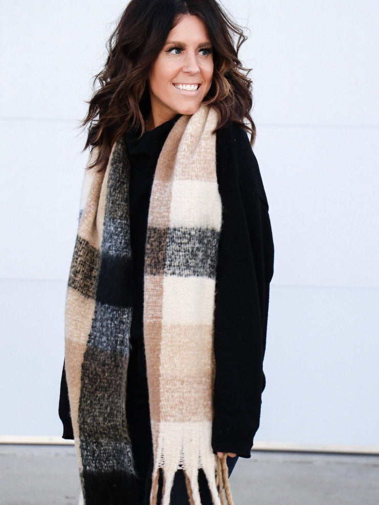 Brushed Plaid Fringe Scarf