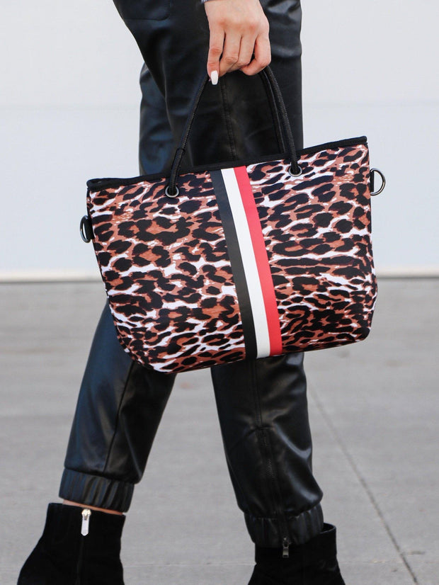 Haute Shore Leopard Stipe Mini Tote