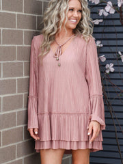 Free People pink ruffle hem dress