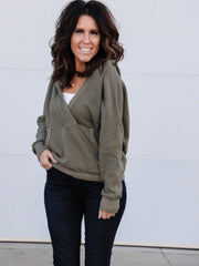 Free People V Neck Wrap Hoodie