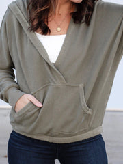 Free People Deep V Neck Pocket Front Hoodie