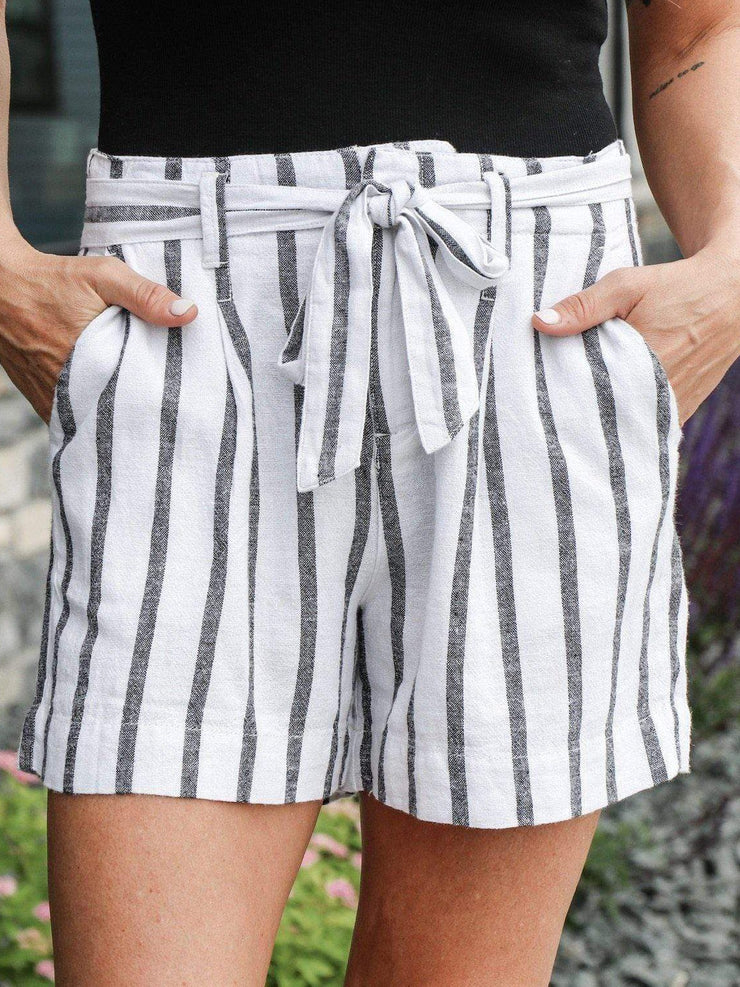Sanctuary tie front striped short