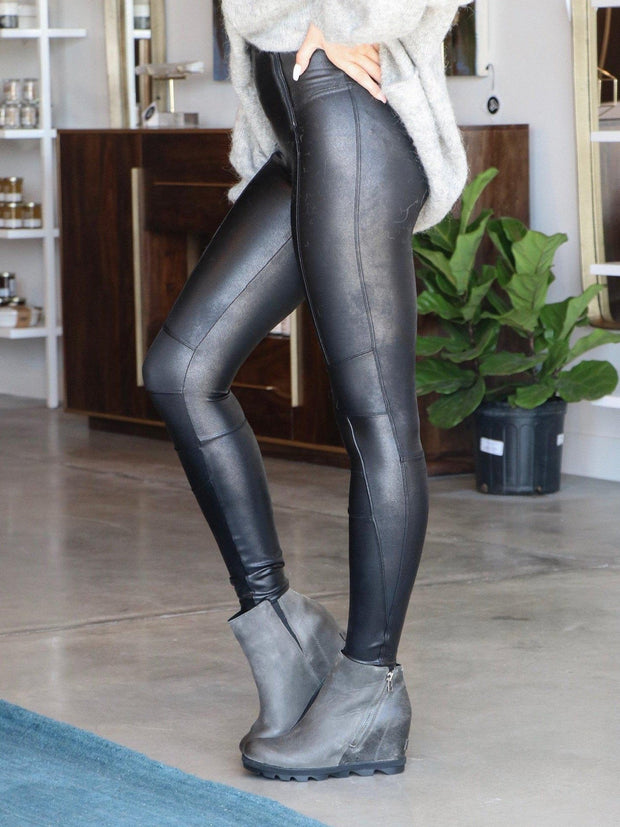 SPANX faux leather zip front legging
