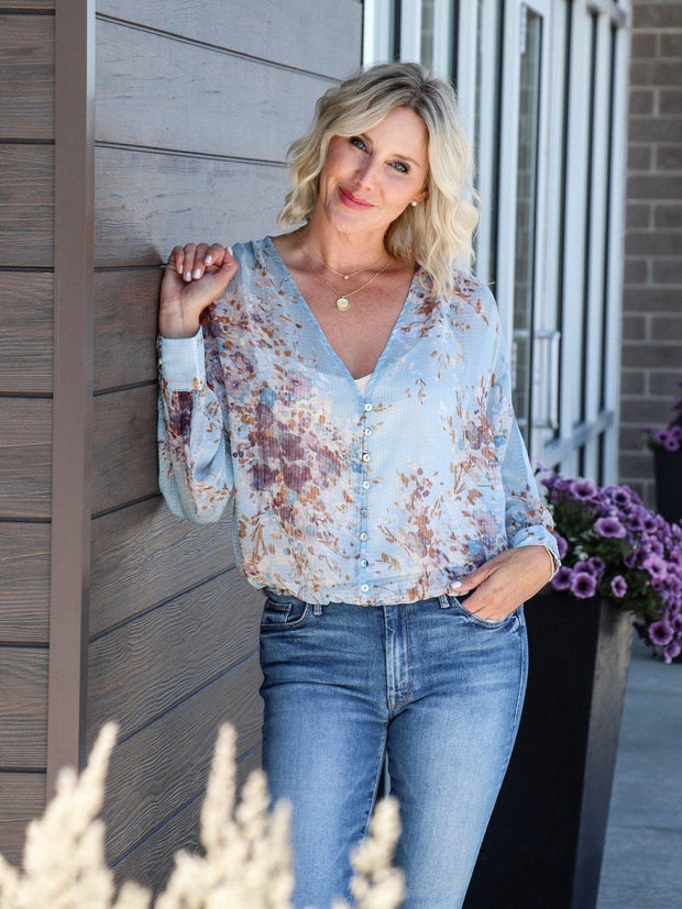 button front floral blouse