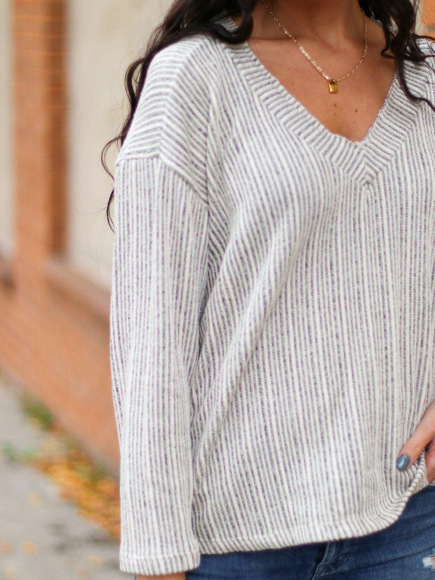 Drop Shoulder Loose Sleeve Stripe Knit V-neck Top