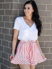red striped belted short