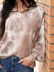 Mock Neck Tie Dye Half Zip Sweatshirt