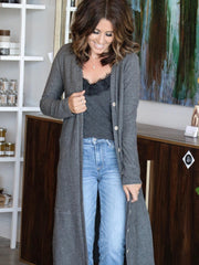 open front charcoal cardigan