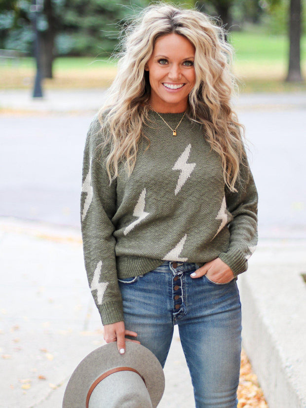 Lightning Print Crew Neck Sweater