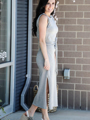 grey knit midi dress