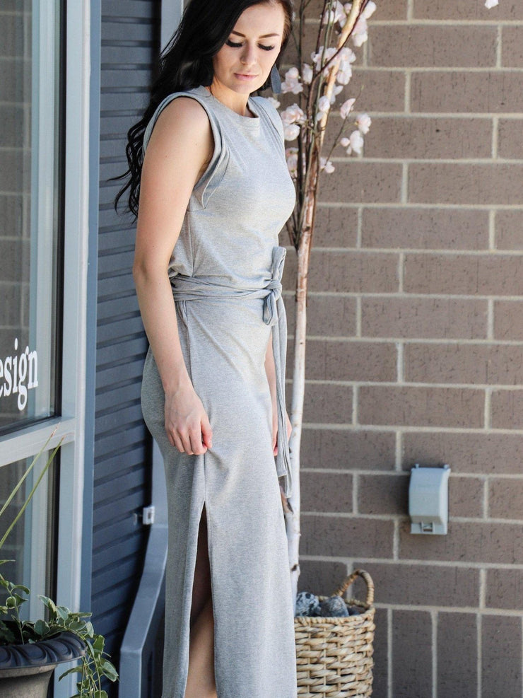 side slit grey dress