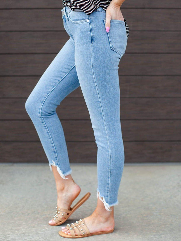 destructed hem skinny