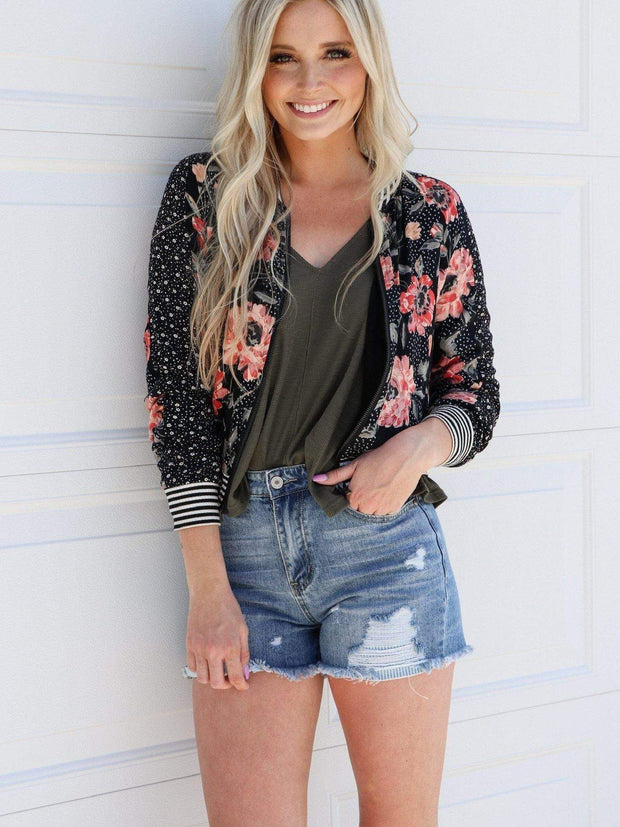 Mixed Print Floral Bomber