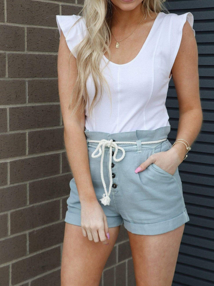 chambray tie front short