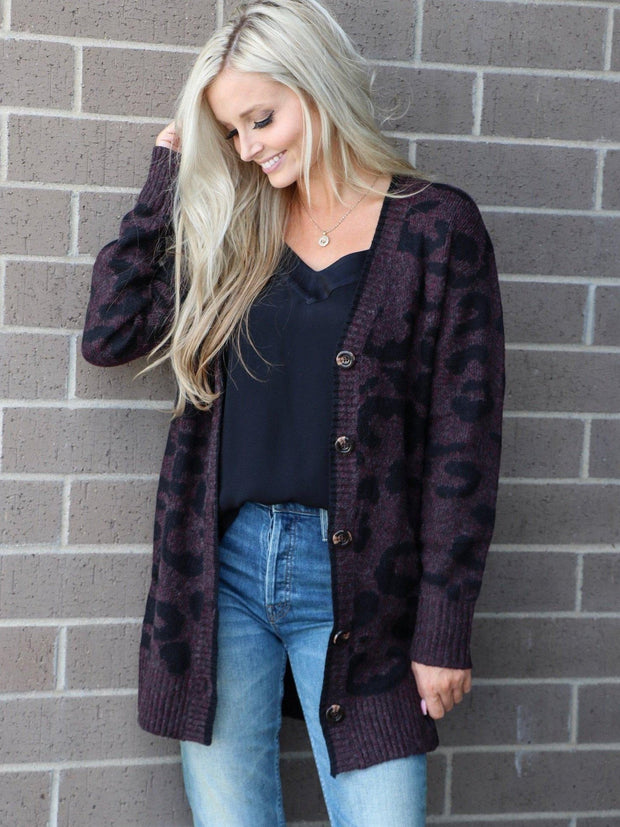 cheetah button front cardigan