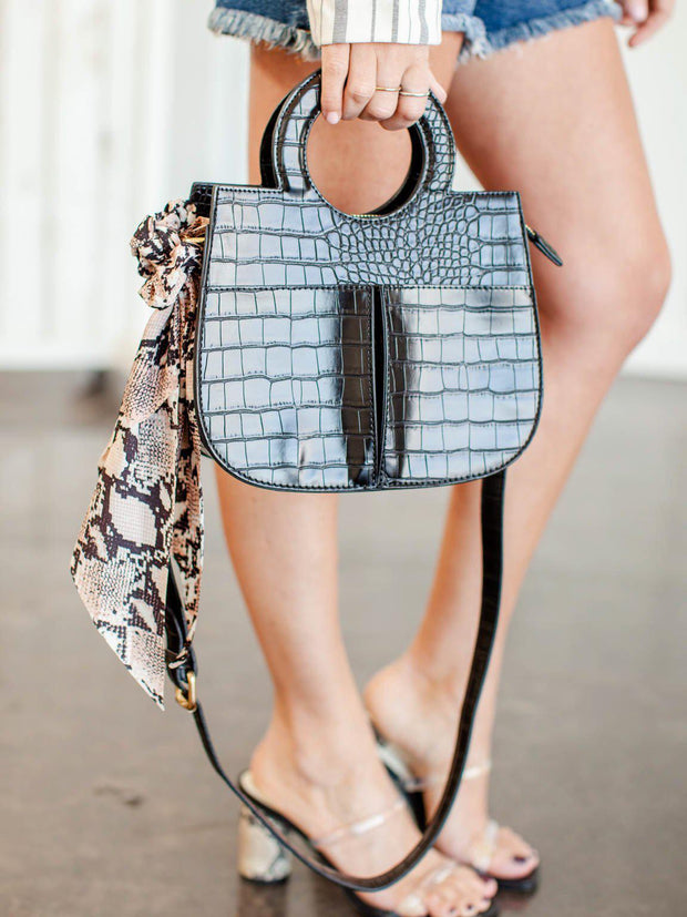 Structured Croc Embossed Mini Tote