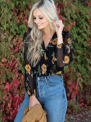 floral ASTR orange top