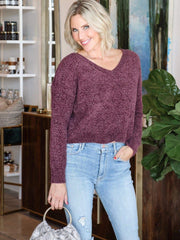 deep purple v neck sweater