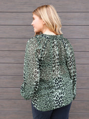 Printed Tie Front Leopard Blouse