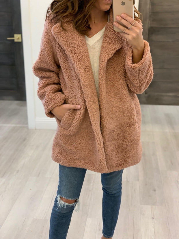 open front teddy coat