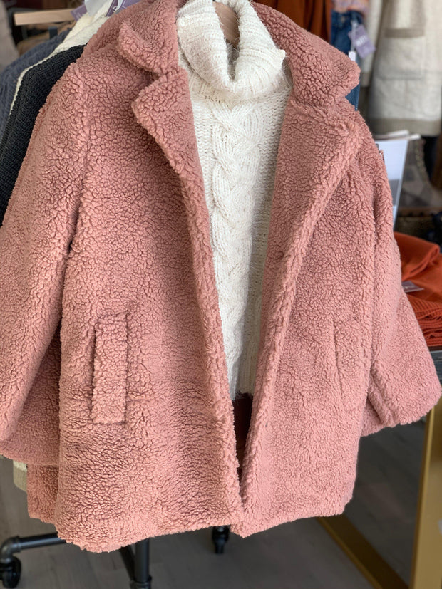 dusty rose teddy coat