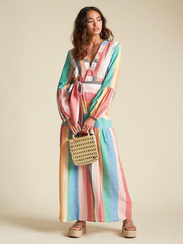 Billabong Plunging Neckline Stripe Maxi Dress