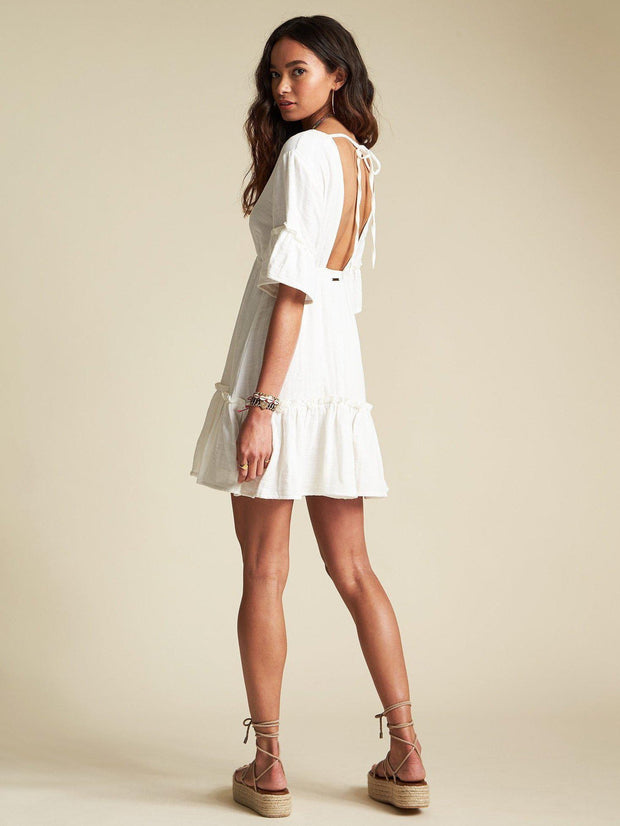Billabong Open Back Tiered Mini Dress