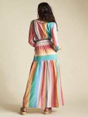 Billabong Bold Stripe Tiered Maxi Dress
