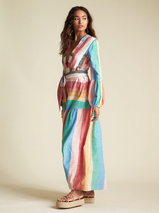 Billabong Balloon Sleeve Stripe MAxi Dress