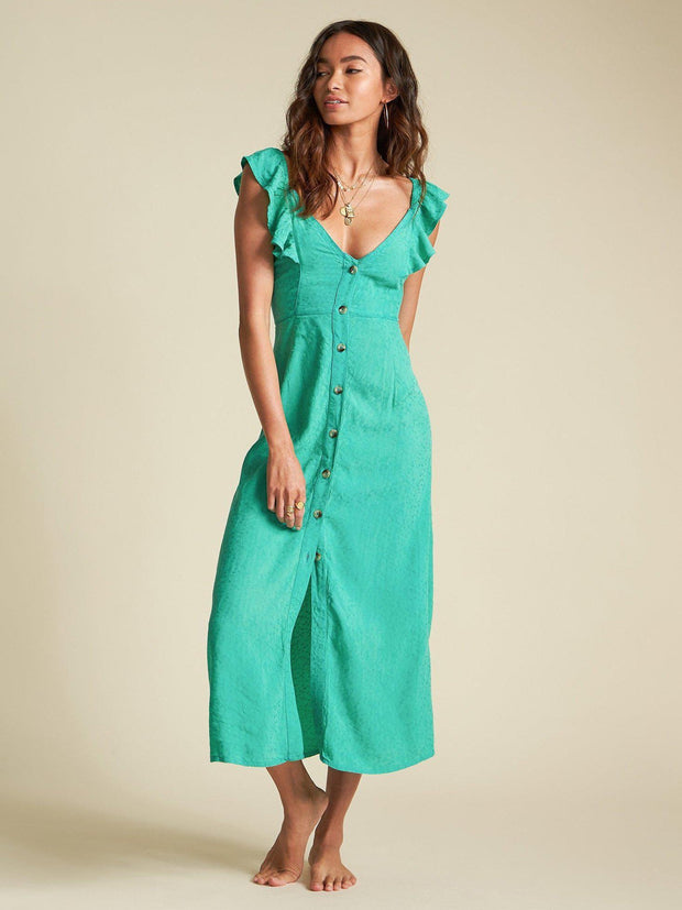 Billabong Button Front Ruffle Sleeve Dress