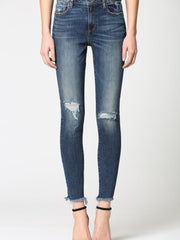 destructed knee high rise denim