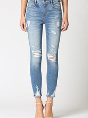 hidden distressed denim