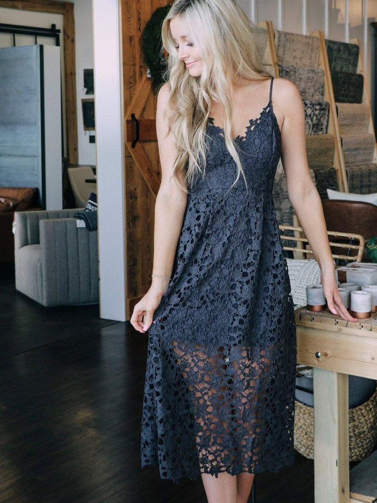 ASTR Navy all over lace midi dress