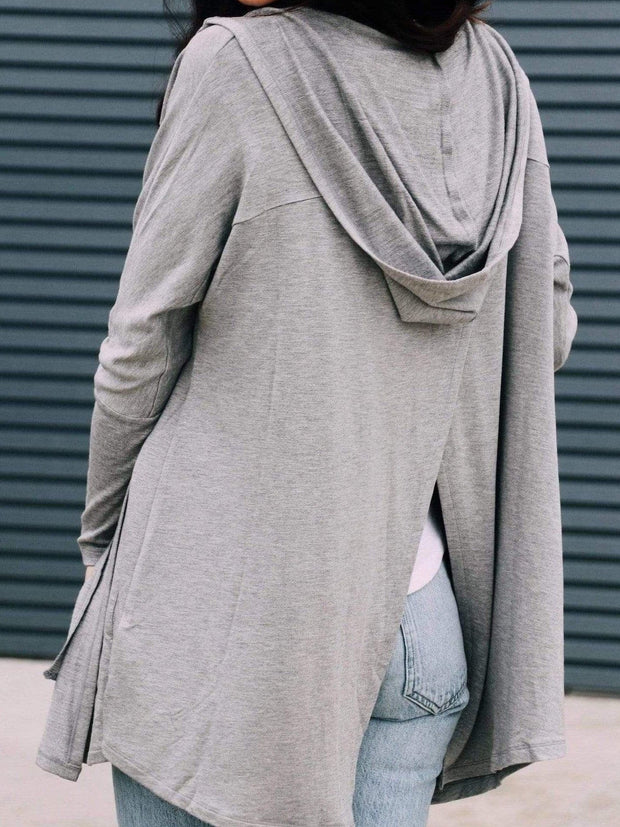 split back hooded cardigan