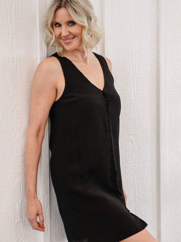 black tank button front dress