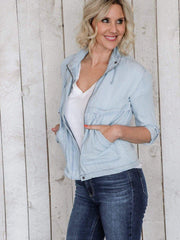 zip front chambray jacket