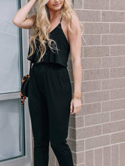 black knit elan jumpsuit