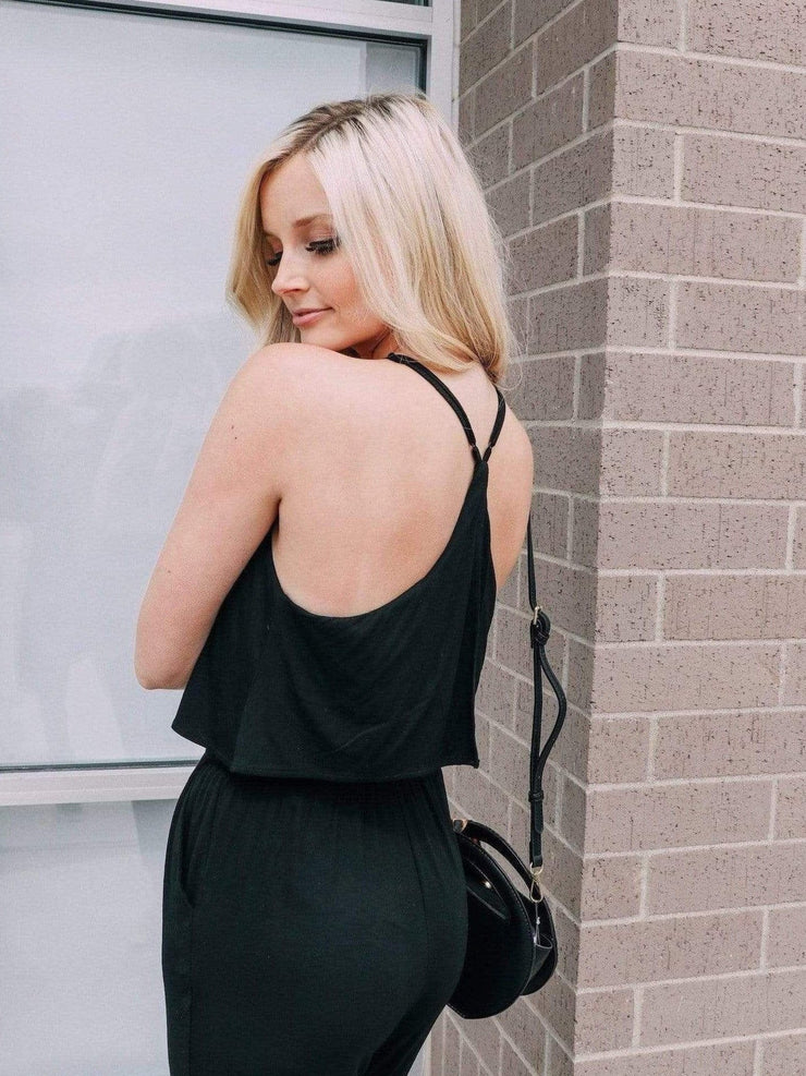 racer back black jumpsuit