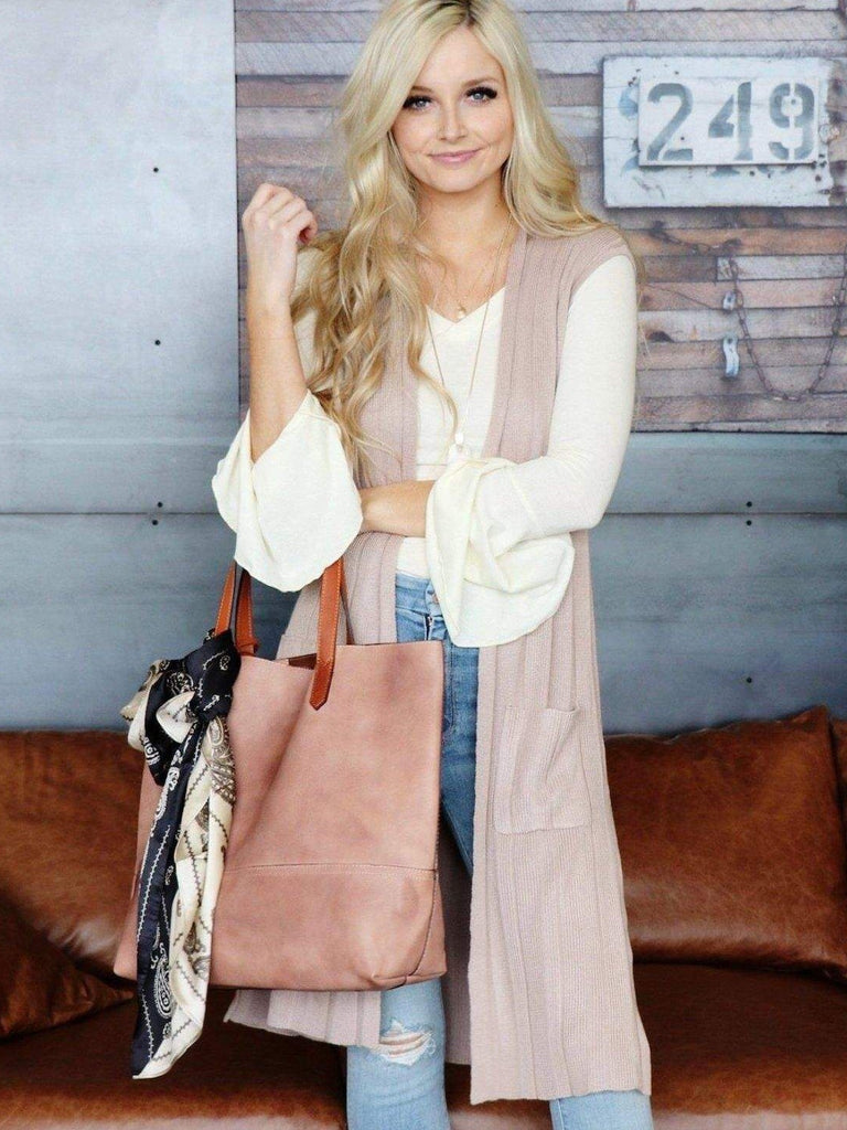 taupe long sweater vest