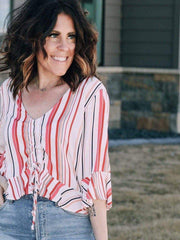 gathered front striped blouse