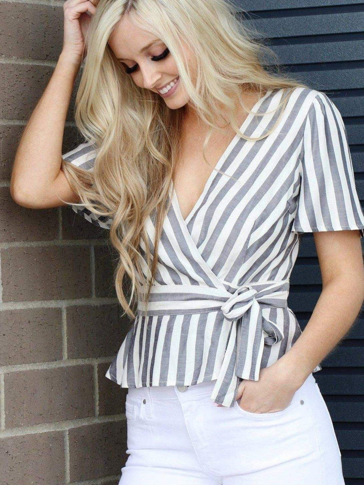 Grey White striped wrap top