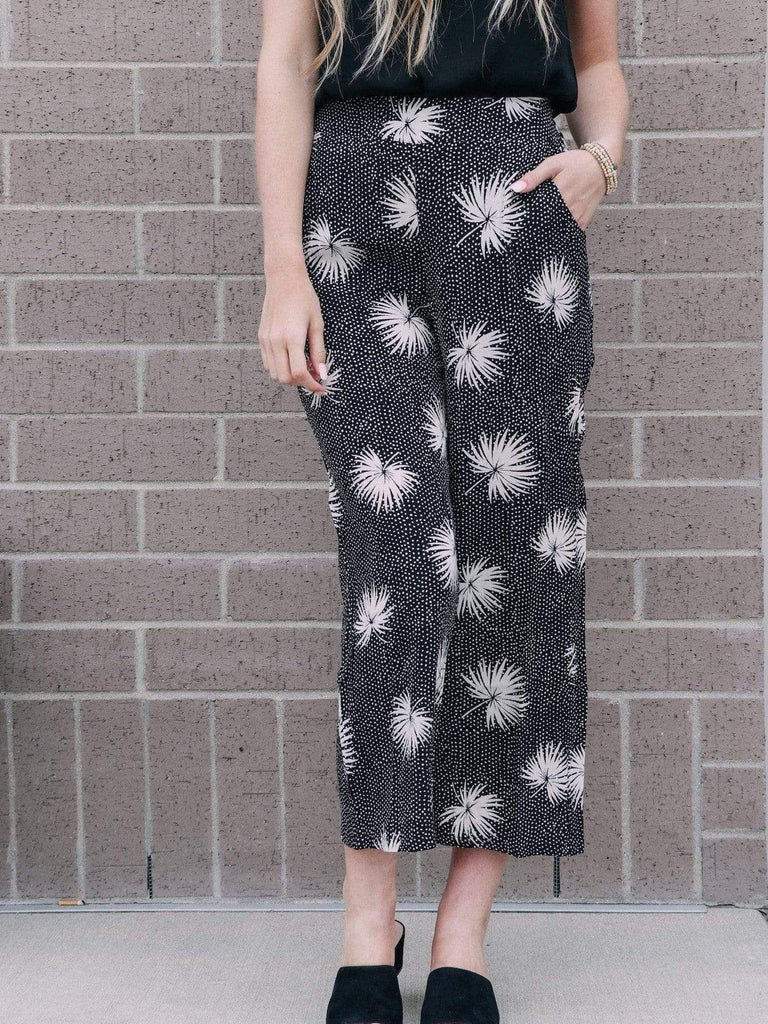 printed cropped wide leg pant