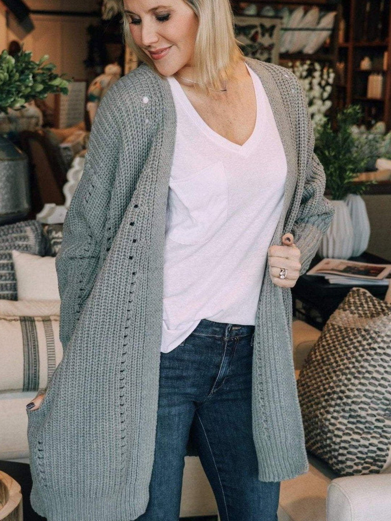 By Together Cardigans Heather Grey / S/M / L2553 Knitted Open Detail Cardigan