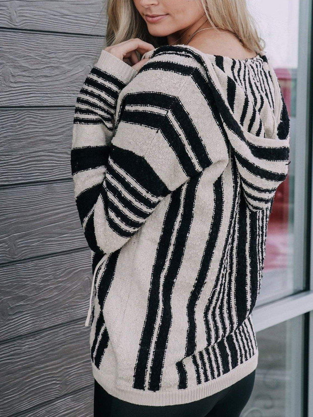 By Together Sweaters Vertical Stripe Hoodie Sweater Top