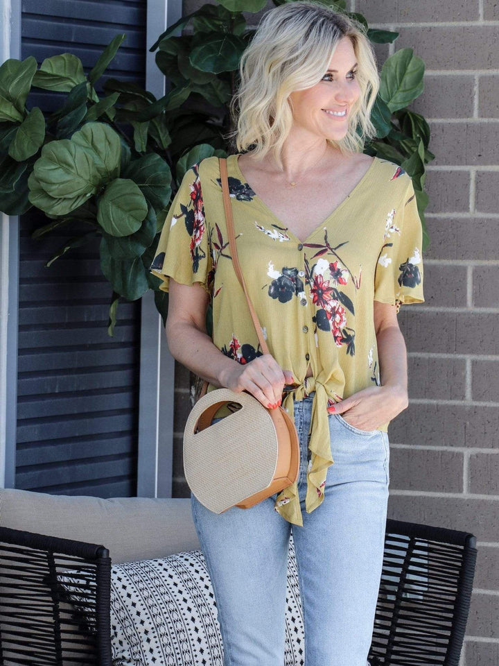 floral mustard tie front blouse