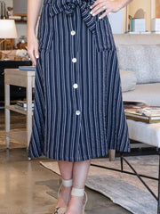 navy striped button front skirt